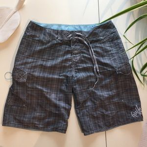 Quicksilver Gray/Blue Plaid Board Shorts